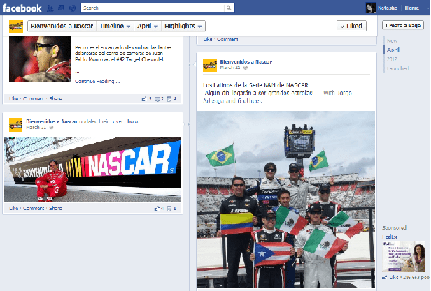 A recent Facebook post featuring Los Latinos at the NASCAR K&N Pro Series East race at Bristol