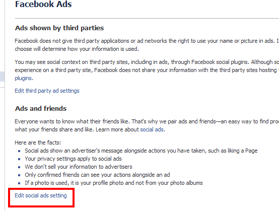 Facebook Social Ads setting