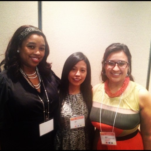 Panelists Laquitta DeMerchant, Maizie Soto, and Jazmin Chavez at the session: Using Technology to Solve Latino Problems.