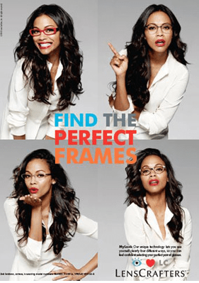 Zoe Saldana for Lens Crafters Ad Campaign