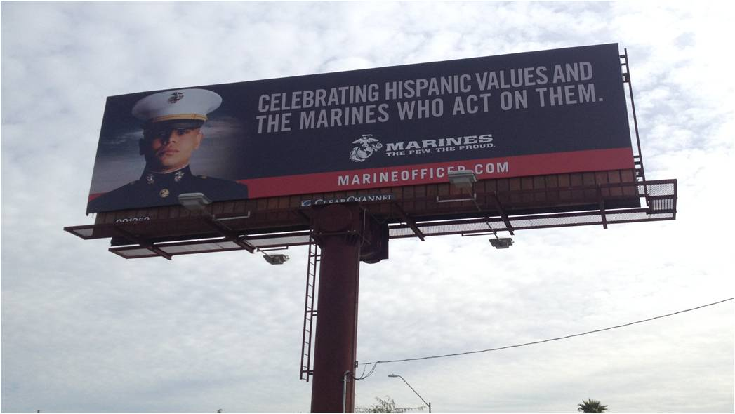 US Marines billboard in the uptown Phoenix area.